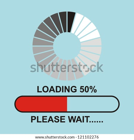 Loading, Streaming, Buffering, Play, Go. please wait... - stock vector