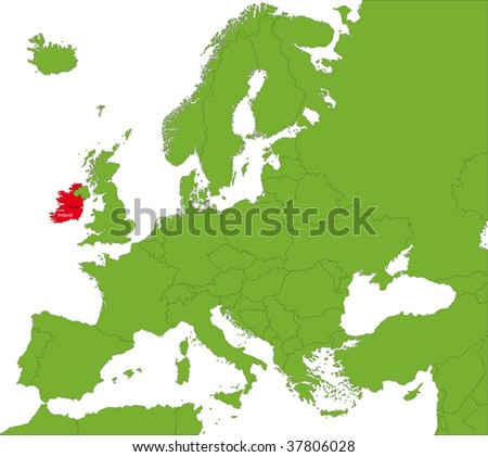 Location of the Republic of Ireland on the Europa continent - stock vector