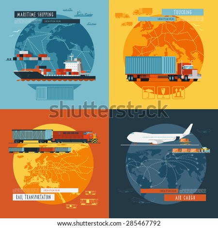 Logistic maritime shipping and air cargo transportation worldwide 4 flat icons composition banner abstract isolated vector illustration - stock vector