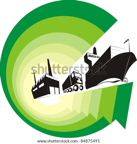 """Logistics Going Green"" color vector illustration - Green arrows symbolizing the environment-friendly logistics world - stock vector"