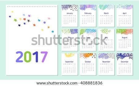2017 Loose Leaf Calendar Template With Colorful Doodle Decorative Elements.  Week Starts Sunday.  Loose Leaf Template