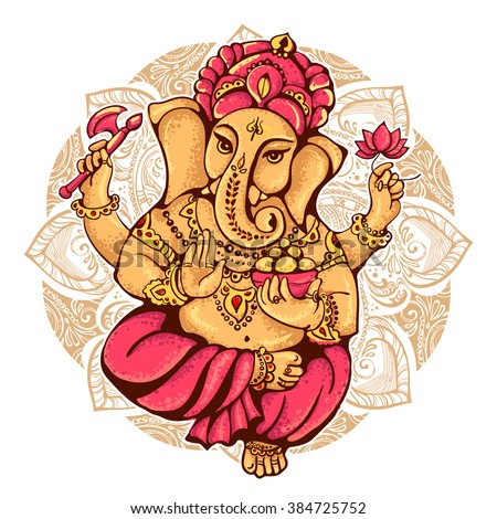 lord Ganesh. Ganesh Puja. Ganesh Chaturthi. It is used for postcards, prints, textiles, tattoo. - stock vector