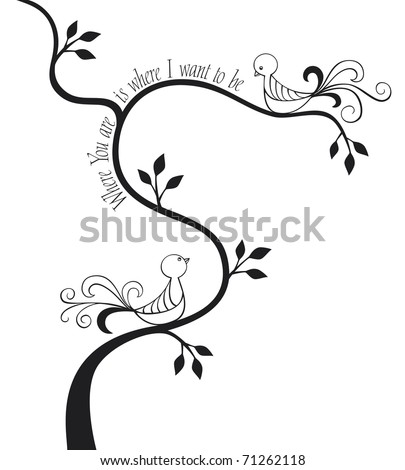 2 love birds in a tree with text