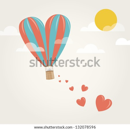 Love hot air balloon in shape of big heart in the sky dropping hearts