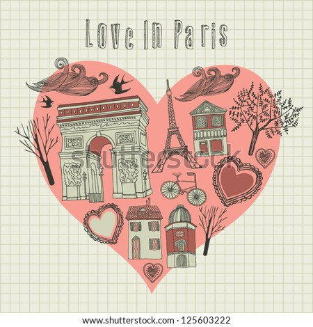 love in Paris - vector illustration. card - stock vector