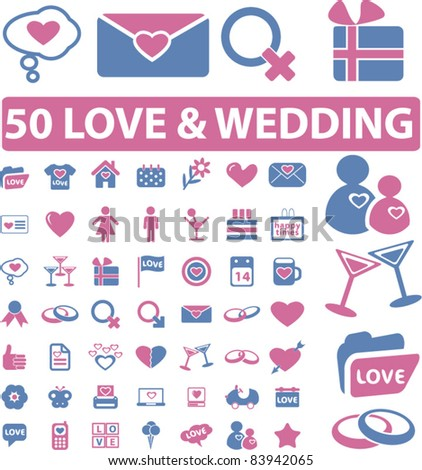 50 love & wedding icons, signs, vector illustration - stock vector