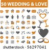 50 love & wedding signs. vector - stock vector