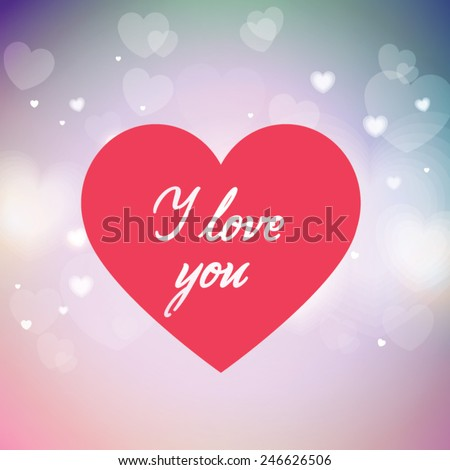 'love you' hand lettering - handmade calligraphy; editable vector illustration; - stock vector