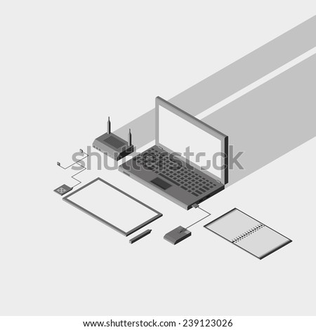 Low polygon isometric laptop, tablet and office things illustration. vector eps10
