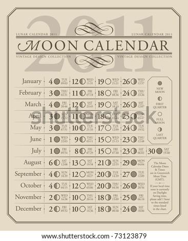 2011 lunar calendar (GMT), vector - stock vector