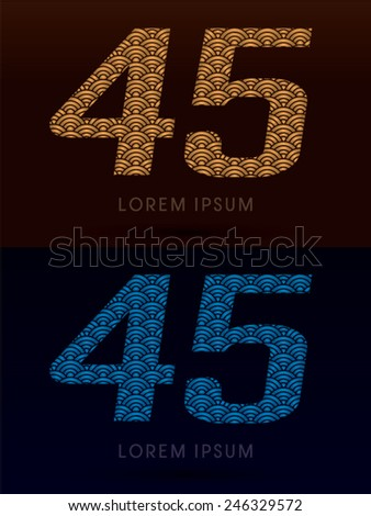 45 ,Luxury font ,designed using gold and blue bold  line, concept shape from water, river, sea, ocean, fish scale, logo, symbol, icon, graphic, vector. - stock vector
