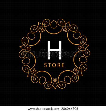 Luxury Logo template flourishes calligraphic elegant ornament lines. Business sign, identity for Restaurant, Royalty, Boutique, Hotel, Heraldic, Jewelry, Fashion and other vector illustration - stock vector