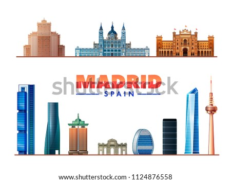 madrid spain vector illustration most famous stock vector royalty