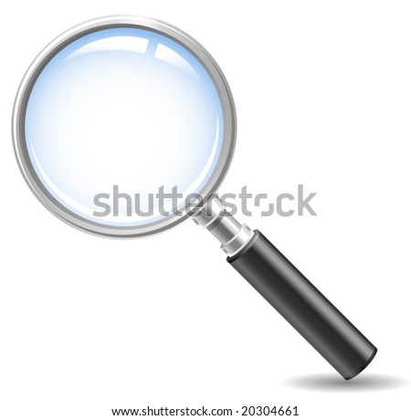 magnifying glass icon ( no meshes, only gradients) - stock vector