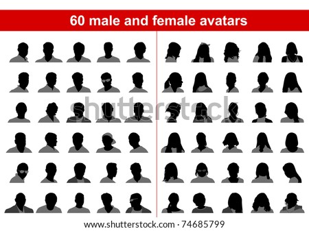 60 male and female avatars. Vector - stock vector