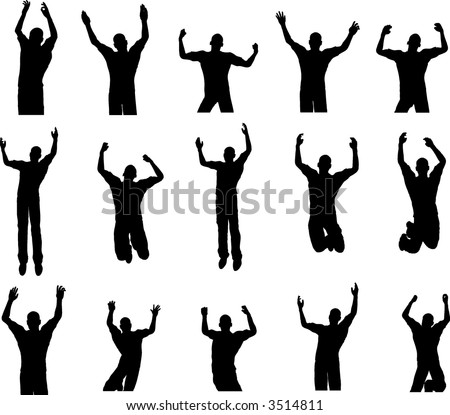 15 Male Dance and Rave Poses - stock vector