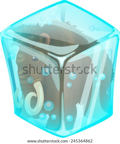 mammoth in ice - stock vector