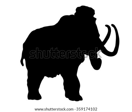 mammoth silhouettes over white background - stock vector