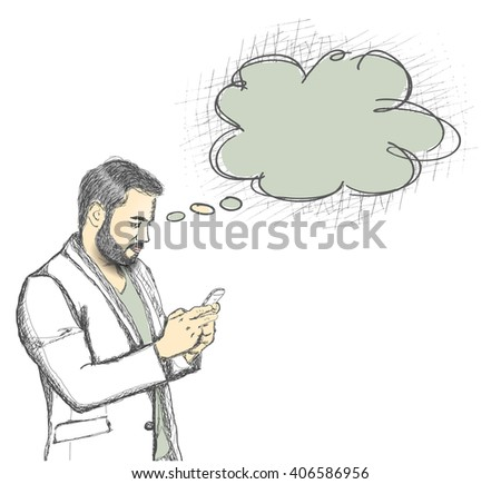 man checking email, chatting, internet browsing, on Mobile,vector illustration  - stock vector