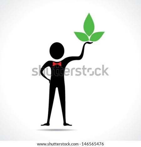 Man holding a leaf icon vector - stock vector