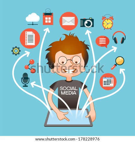 Man in a flat style with tablet and network icons. The concept of social media network.  - stock vector