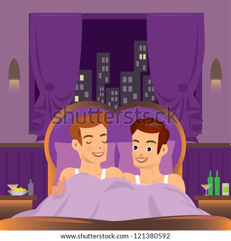 2 man  in bed. Couple. - stock vector