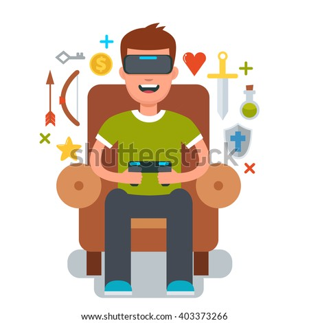 Man sitting in chair and gaming with Virtual reality glasses. Vector cartoon illustration. Vr glasses. - stock vector
