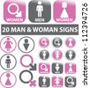 20 man & woman signs, icons set, vector - stock vector