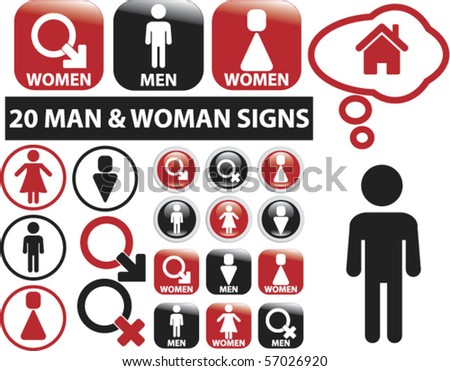 20 man & woman signs. vector - stock vector