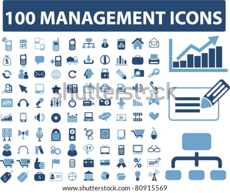 100 management icons, signs, vector illustration - stock vector