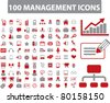 100 management icons, signs, vector illustrations - stock vector