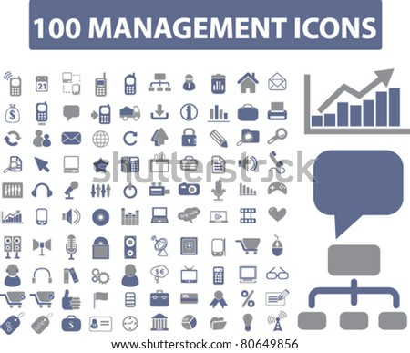100 management icons, vector - stock vector