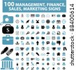 100 management & money icons, signs, vector set, illustrations - stock photo