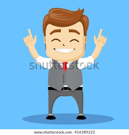 Manager character standing with hands up, happy. Flat character.  - stock vector