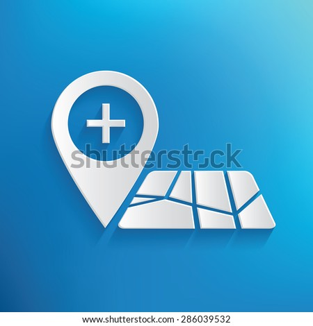 Map location design on blue background,clean vector - stock vector