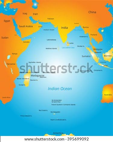 map of Indian ocean region - stock vector