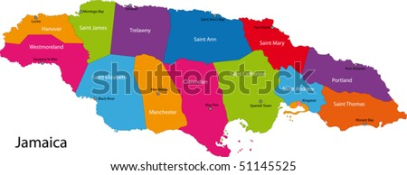 Map of Jamaica with the parishes colored in bright colors and the capital cities - stock vector