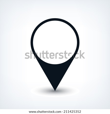 16 map pins sign location icon with oval gray shadow in simple flat style. Black circle shapes on white background. This vector illustration web design element save in 8 eps - stock vector