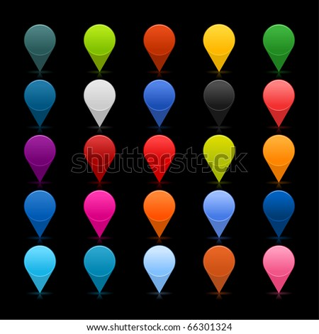 25 mapping pins icon web 2.0 buttons. Colored satined round shapes with reflection on black - stock vector