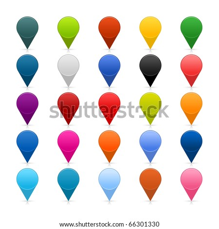 25 mapping pins icon web 2.0 buttons. Colored satined round shapes with shadow on white - stock vector