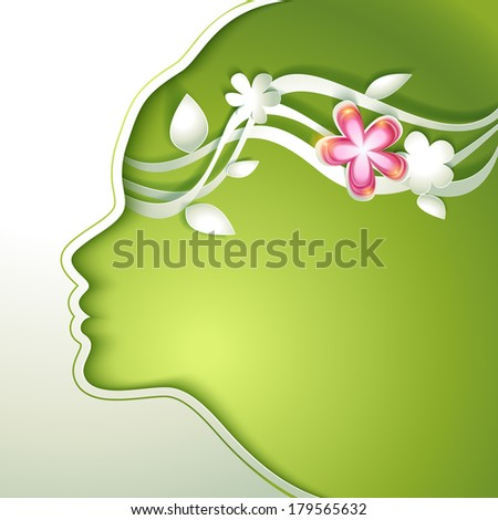 8 March. Beautiful young woman with flowers in hair - stock vector