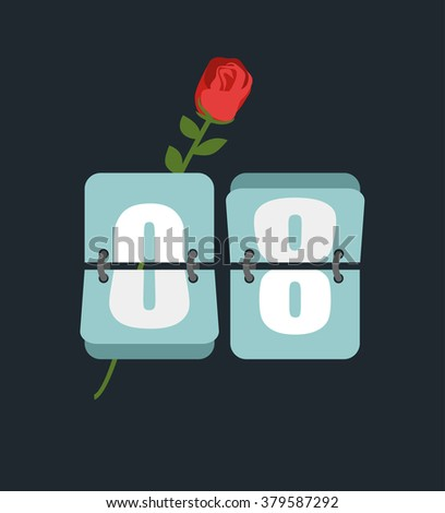 8 March. Countdown timer. Figure 8. International womens day. Red Rose and watches - stock vector