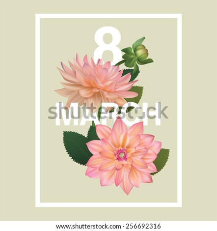8 march flower template greeting card - stock vector