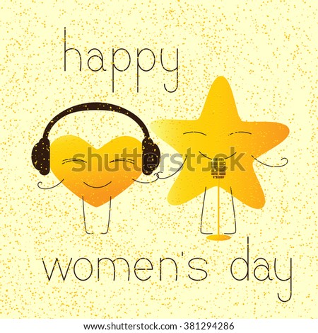 8 march greeting card with golden colored cartoon heart character in headphones and star character with retro microphone and lettering happy womens day in English on yellow background and golden dotes - stock vector