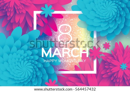 8 March. Happy Mother's Day. Blue Paper cut Floral Greeting card. Origami flower holiday background. Square Frame, space for text. Happy Women's Day. Trendy Design Template. Vector illustration