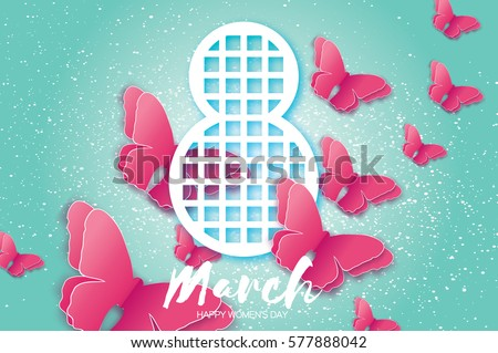 8 March. Happy Mother's Day. Paper cut Pink Wild Butterfly and Eight. Beautiful Origami insect holiday background. Nature Greeting card. Happy Women's Day. Rectangle frame. Vector illustration