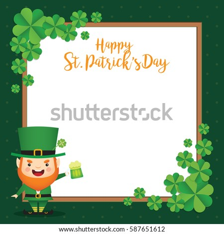 17 march. Saint Patrick's Day template design. Cute Leprechaun holding ...
