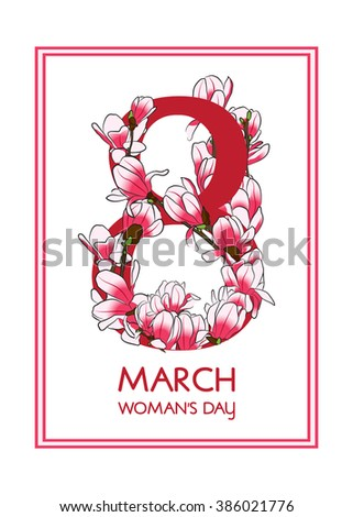 8 March Woman's day greeting card. Vector illustration. - stock vector