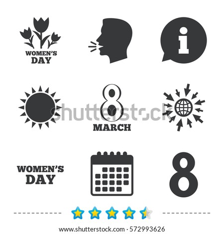 8 March Women's Day icons. Tulips or rose flowers bouquet sign symbols. Information, go to web and calendar icons. Sun and loud speak symbol. Vector