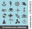 16 marine icon collection - stock vector